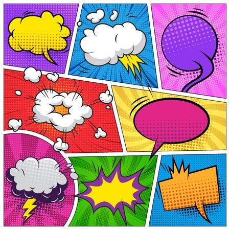 Ilustración de Comic book page composition with colorful blank speech bubbles and various humor effects vector illustration - Imagen libre de derechos