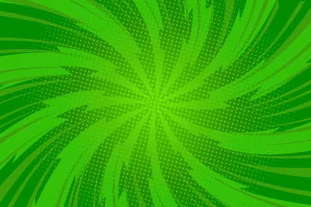 Illustration pour Comic abstract green bright template with twisted radial lightnings rays and dots effects vector illustration - image libre de droit