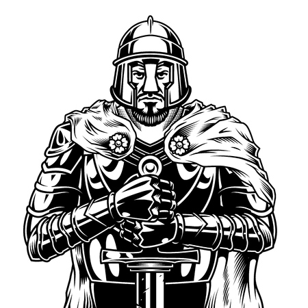 Illustration pour Vintage monochrome medieval warrior with sword wearing helmet cape and metal armor isolated vector illustration - image libre de droit