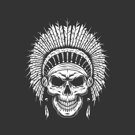 Illustration pour Vintage native american indian skull with feathers headwear isolated vector illustration - image libre de droit