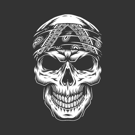 Illustration for Rock and roll skull with bandana in monochrome vintage style isolated vector illustration - Royalty Free Image