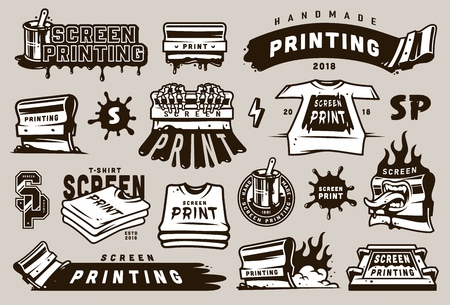 Illustration pour Big collection of screen printing elements with industrial equipment blots - image libre de droit