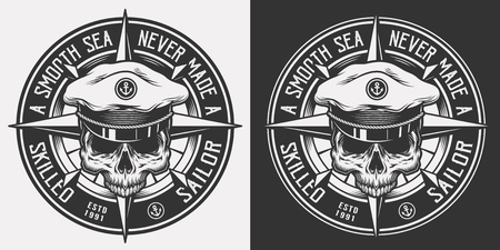 Illustration pour Vintage nautical monochrome emblem with skull in sea captain hat and inscriptions isolated vector illustration - image libre de droit