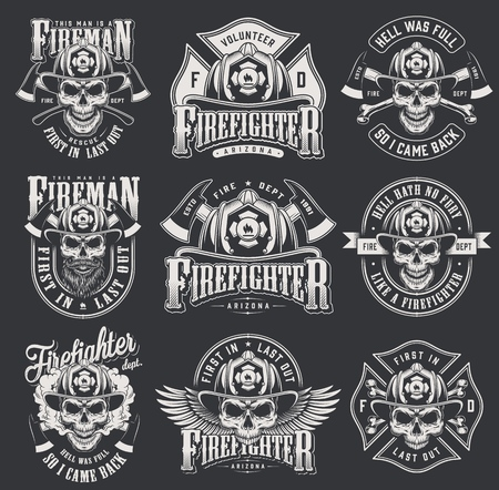 Photo pour Vintage firefighter collection with skulls in fireman helmet crossed axes bones letterings in monochrome style isolated vector illustration - image libre de droit