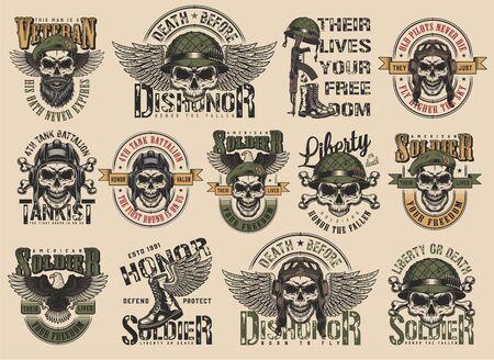 Illustration pour Vintage colorful military labels set with pilot soldier tankman navy seal skulls inscriptions eagle boots weapon isolated vector illustration - image libre de droit