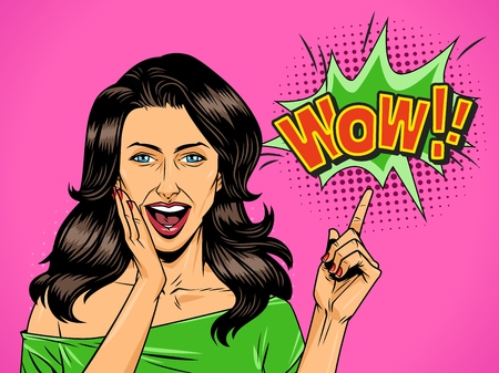 Illustration for Comic attractive wonder girl with open mouth pointing at Wow wording vector illustration - Royalty Free Image
