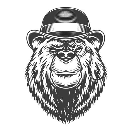 Illustration pour Vintage serious gentleman bear head in fedora hat and pince-nez in monochrome style isolated vector illustration - image libre de droit