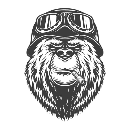 Illustration pour Vintage monochrome motorcyclist bear head smoking cigar and wearing motorcycle helmet and goggles isolated vector illustration - image libre de droit