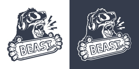 Illustration pour Vintage monochrome gaming logo with angry gorilla in virtual reality headset holding nameplate with Beast mode inscription isolated vector illustration - image libre de droit