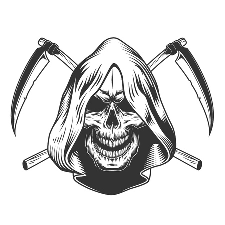 Illustration pour Vintage monochrome reaper skull in hood with crossed scythes isolated vector illustration - image libre de droit