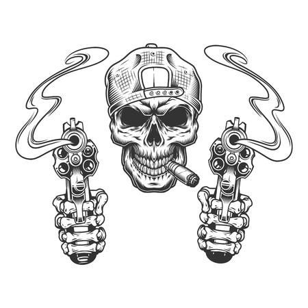 Illustration pour Vintage monochrome gangster skull in cap smoking cigar with skeleton hands holding pistols isolated vector illustration - image libre de droit