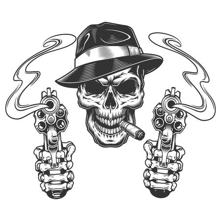 Illustration pour Vintage monochrome gangster skull smoking cigar with skeleton hands holding pistols isolated vector illustration - image libre de droit