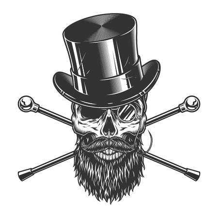 Illustration pour Vintage gentleman skull in cylinder hat with beard mustache rimless eyeglasses and crossed walking canes isolated vector illustration - image libre de droit