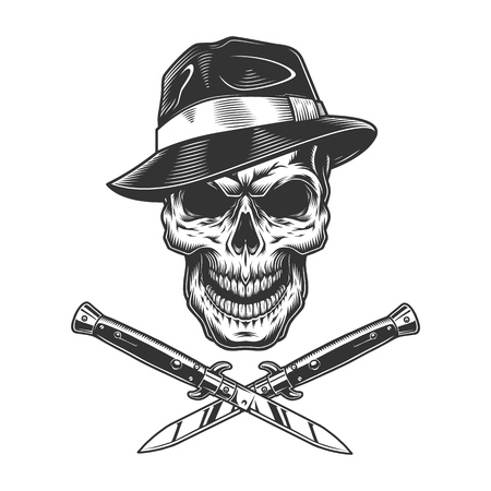Illustration pour Vintage gangster skull in fedora hat with crossed knives isolated vector illustration - image libre de droit