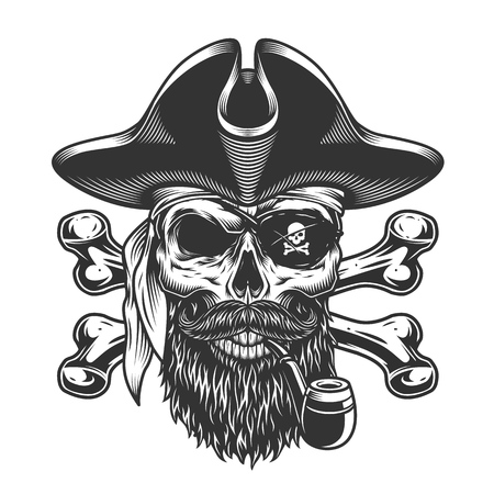 Vintage bearded and mustached pirate skull smoking pipe with eye patch and crossbones isolated vector illustration