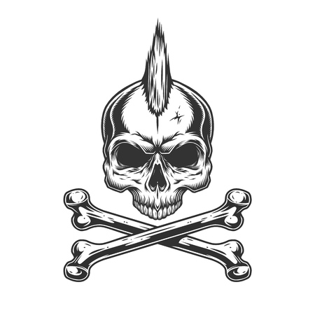 Illustration for Vintage monochrome skull with mohawk and crossbones isolated vector illustration - Royalty Free Image