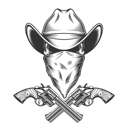 Illustration pour Vintage monochrome cowboy skull with scarf on face and crossed pistols isolated vector illustration - image libre de droit