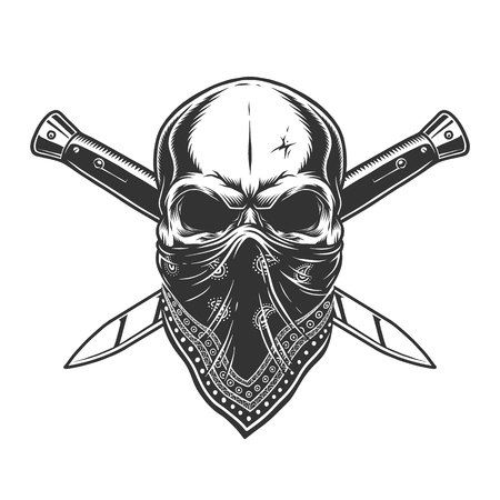Illustration pour Bandit skull with bandana on face and crossed knives in vintage monochrome style isolated vector illustration - image libre de droit