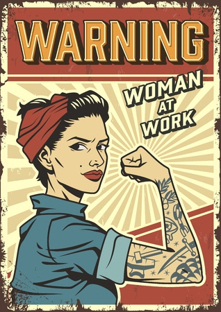 Illustration pour Female power colorful retro poster with pin up strong attractive girl wearing bandana and mechanic uniform in vintage style vector illustration - image libre de droit