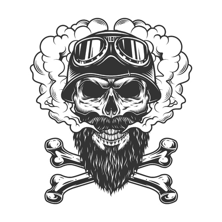 Illustration pour Bearded and mustached biker skull in smoke cloud with crossbones in vintage monochrome style isolated vector illustration - image libre de droit