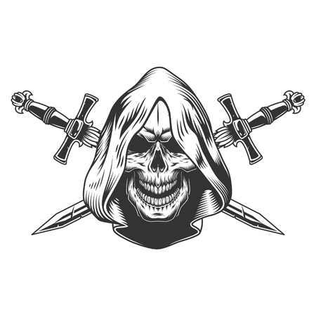 Illustration pour Reaper skull in hood with crossed swords in monochrome vintage style isolated vector illustration - image libre de droit