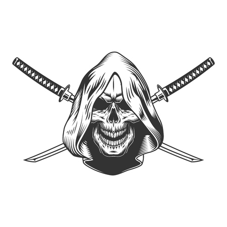 Illustration pour Reaper skull in hood with crossed sabers in vintage monochrome style isolated vector illustration - image libre de droit