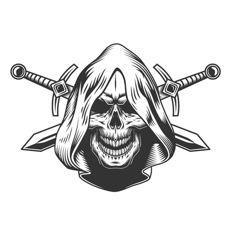 Illustration pour Vintage monochrome skull in hood with crossed swords isolated vector illustration - image libre de droit