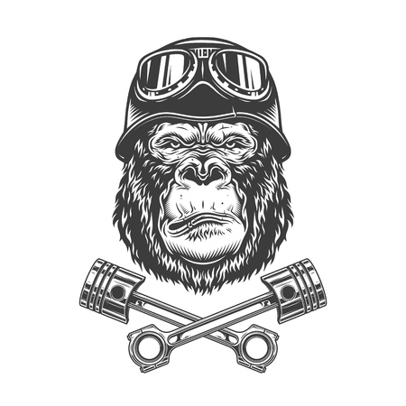 Illustration pour Vintage monochrome serious gorilla head in biker helmet and goggles with crossed engine pistons isolated vector illustration - image libre de droit