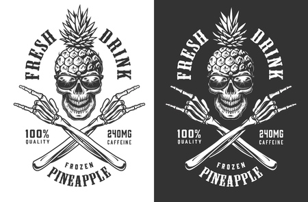 Illustration pour Pineapple skull in sunglasses vintage label with crossed skeleton hands showing rock gestures in monochrome style isolated vector illustration - image libre de droit