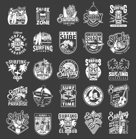 Illustration pour Vintage summer surfing emblems with house of surf club shaka hand gesture tiki mask sea waves ukulele hibiscus flowers man holding surfboards travel bus isolated vector illustration - image libre de droit