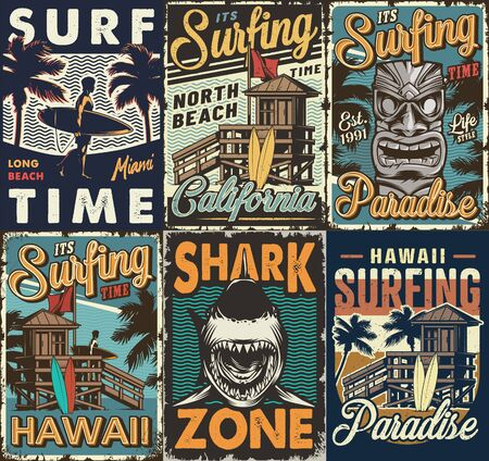 Illustration for Vintage colorful surfing posters set with surf bus tribal hawaiian tiki mask shark wooden house man holding surfboards vector illustration - Royalty Free Image