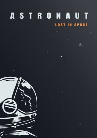 Illustration pour Galaxy and universe poster with cosmonaut in outer space in vintage style vector illustration - image libre de droit