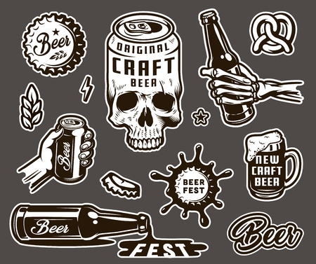 Illustration pour Vintage brewing monochrome elements collection with beer can shaped skull cap wheat ear pretzel mug skeleton and male hands holding bottle and can isolated vector illustration - image libre de droit