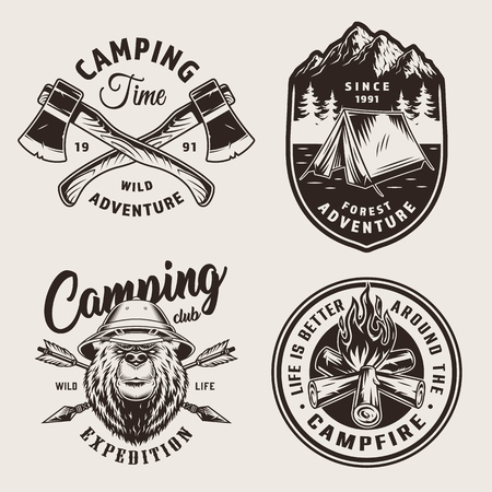 Vintage monochrome camping logos with tent mountains bear head in safari hat bonfire crossed arrows and tourist axes isolated vector illustration