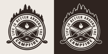 Photo pour Vintage monochrome camping round logo with crossed skewers and forest silhouette isolated vector illustration - image libre de droit
