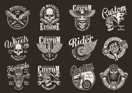 Illustration pour Vintage monochrome motorcycle prints with motorbike parts chopper biker and motorcyclist skulls eagle fiery moto helmet and winged wheel isolated vector illustration - image libre de droit