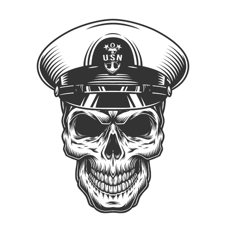 Illustration pour Vintage monochrome military concept with skull in navy officer hat isolated vector illustration - image libre de droit