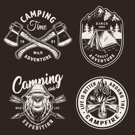 Vintage camping season badges with tent serious bear in safari hat campfire crossed axes and arrows on dark background isolated vector illustration