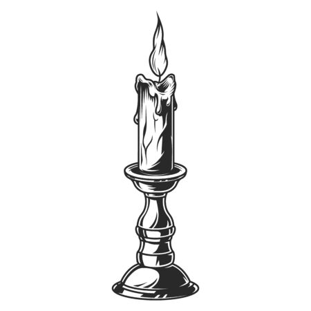 Illustration pour Burning candle in bronze candlestick in vintage monochrome style isolated vector illustration - image libre de droit