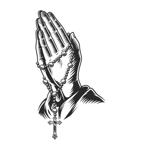 Illustration pour Praying hands holding rosary beads in vintage monochrome style isolated vector illustration - image libre de droit