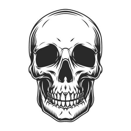 Illustration pour Vintage human skull concept in monochrome style isolated vector illustration - image libre de droit