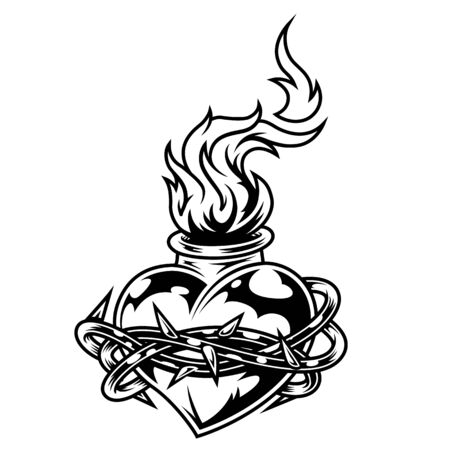Illustration for Vintage monochrome fiery heart template with barbed wire around it isolated vector illustration - Royalty Free Image