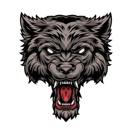 Illustration pour Colorful dangerous scary ferocious wolf head in vintage style isolated vector illustration - image libre de droit