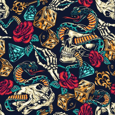 Illustration pour Vintage tattoos colorful seamless pattern with dice skeleton hand elegant medieval key rose flower diamond snake entwined with human and cat skulls vector illustration - image libre de droit