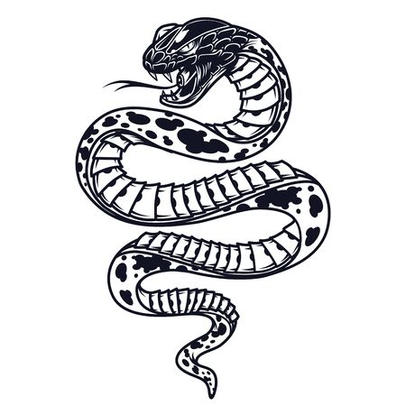 Illustration for Vintage poisonous snake template in monochrome style isolated vector illustration - Royalty Free Image