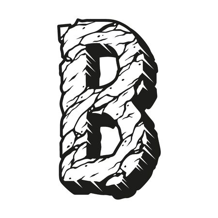Illustration pour Letter B desert vintage design template with cracked sand texture in monochrome style isolated vector illustration - image libre de droit