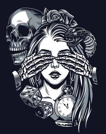 Photo pour Vintage chicano tattoo template with dice antique pocket watch snake and skeleton covering eyes of pretty girl isolated vector illustration - image libre de droit