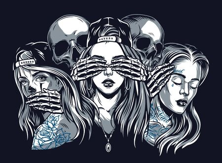Illustration pour Chicano tattoo style vintage concept with see hear speak no evil composition isolated - image libre de droit