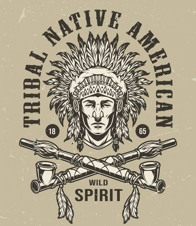 Illustration pour Vintage wild west monochrome label with native american indian chief head in feathers headdress and crossed smoking pipes isolated vector illustration - image libre de droit