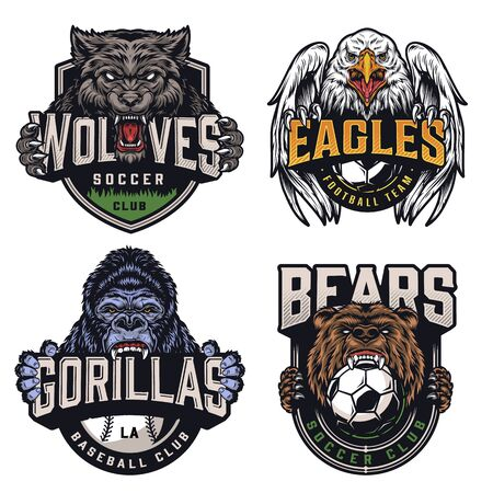 Illustration for Soccer and baseball teams vintage badges with angry animals mascots and sports clubs names inscriptions on light background isolated vector illustration - Royalty Free Image